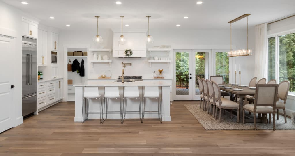 kitchen and dining room panorama in newly constructed luxury home