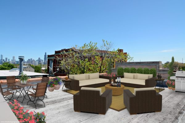 virtual staged outdoor space