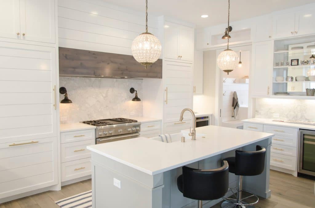 Contemporary kitchen with white cabinets.