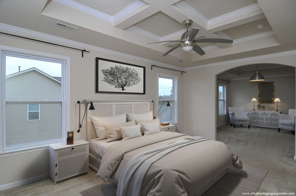 Staged bedroom with virtual staging software