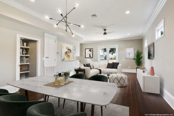 Virtual staging used on a vacant living room.