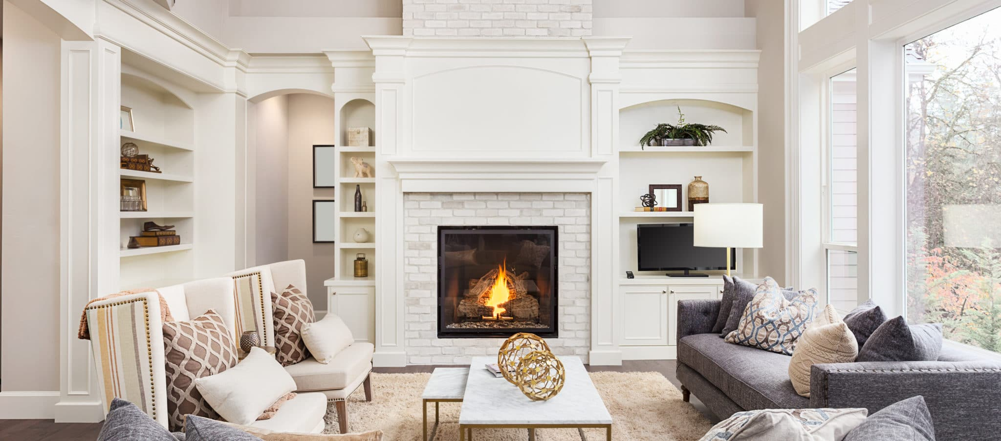 Beautiful home staging in a living room of a luxury home