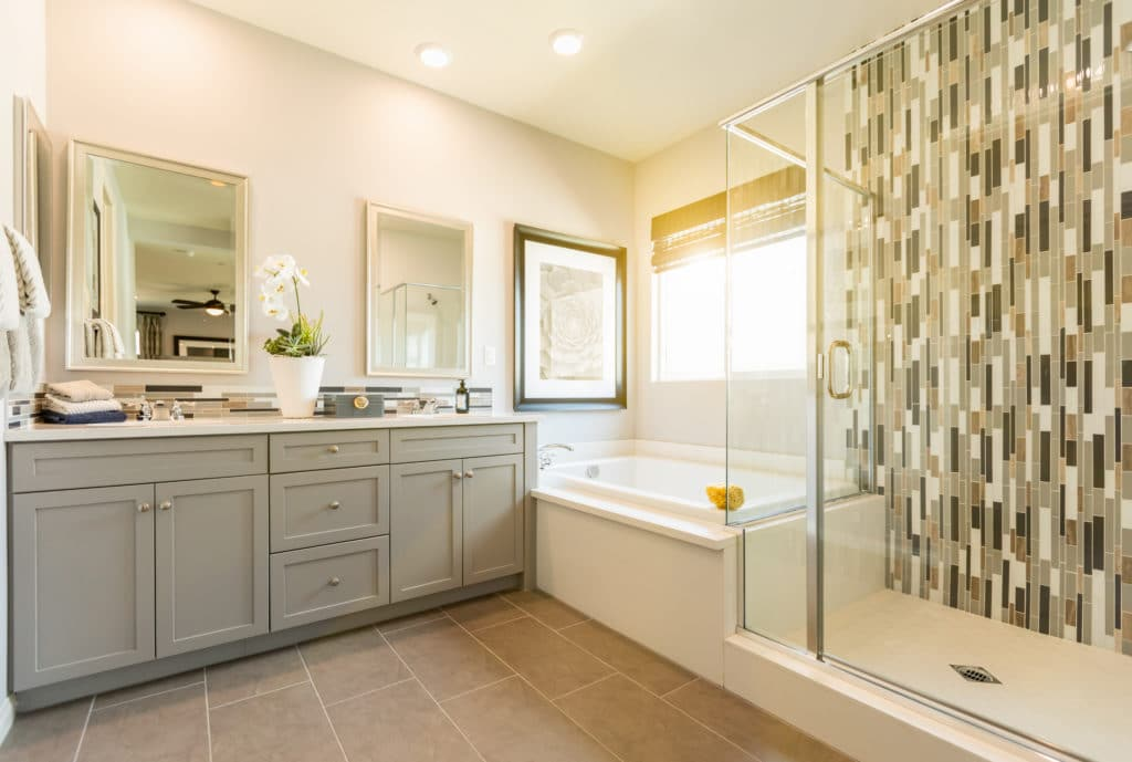 Updated master bathroom in a home for sale